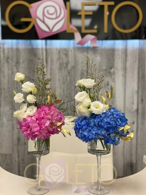 Gender reveal flower arrangements