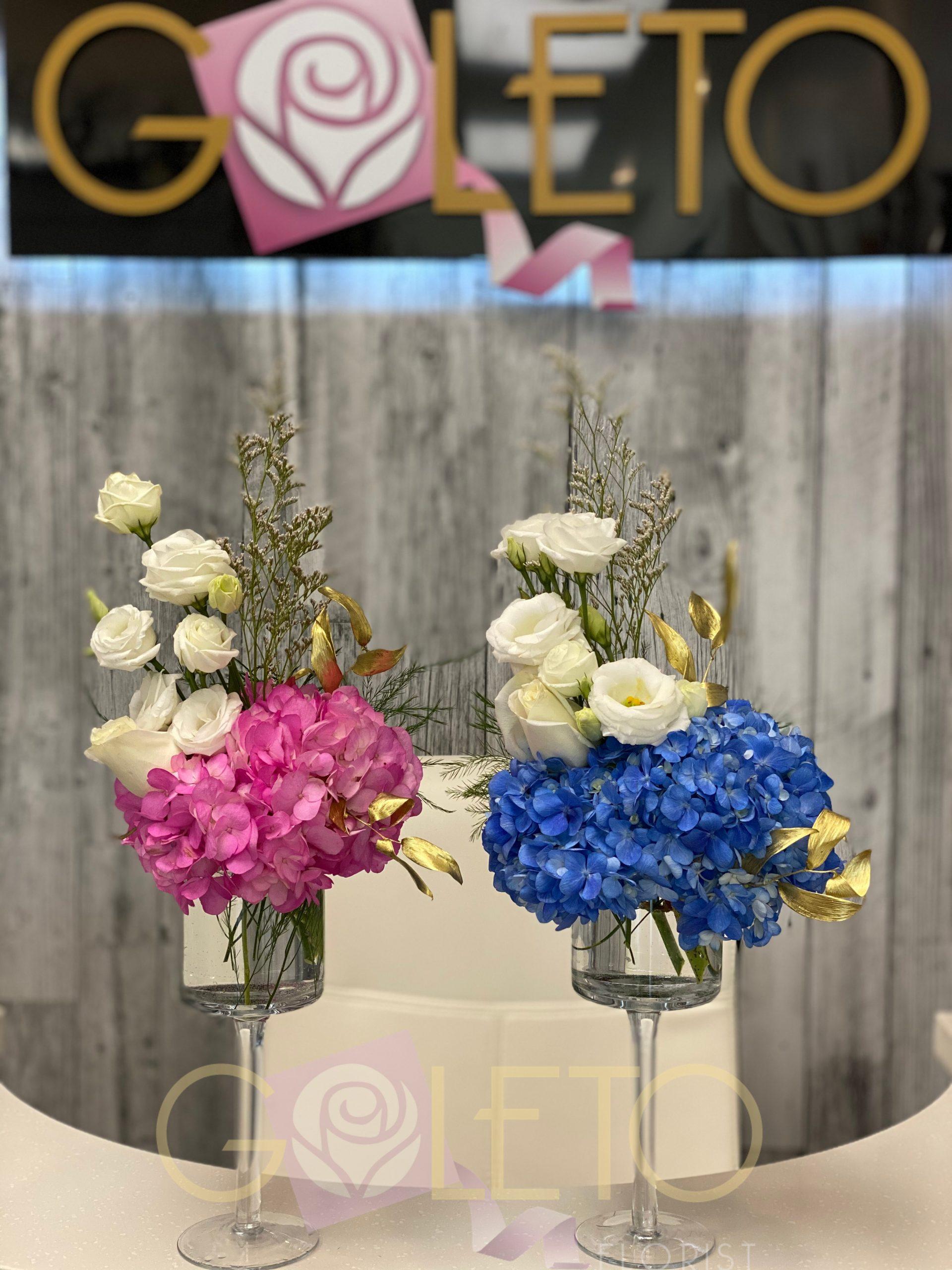 Gender reveal flower arrangements